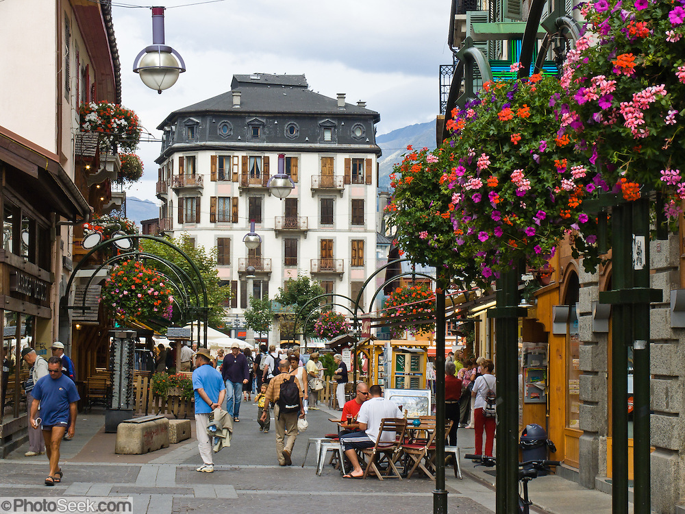 Flowers bloom in boxes on a the streets of downtown Chamonix, France, Europe.