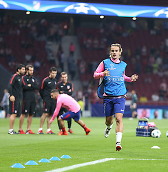 September 27, 2017 - Madrid, Spain - Atletico Madrid's French forward Antoine Griezmann warms up with teammates before the UEFA Champions League Group C football match Club Atletico de Madrid vs Chelsea FC at the Metropolitan stadium in Madrid on September 27, 2017. (Credit Image: © Ahmad Mora/NurPhoto via ZUMA Press)
