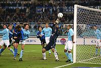 Rome December 7 2002 - Italian Championship<br />Lazio - Inter 3-3<br />Hernan Crespo head shot strikes the goal post 10 minutes before the end of the match