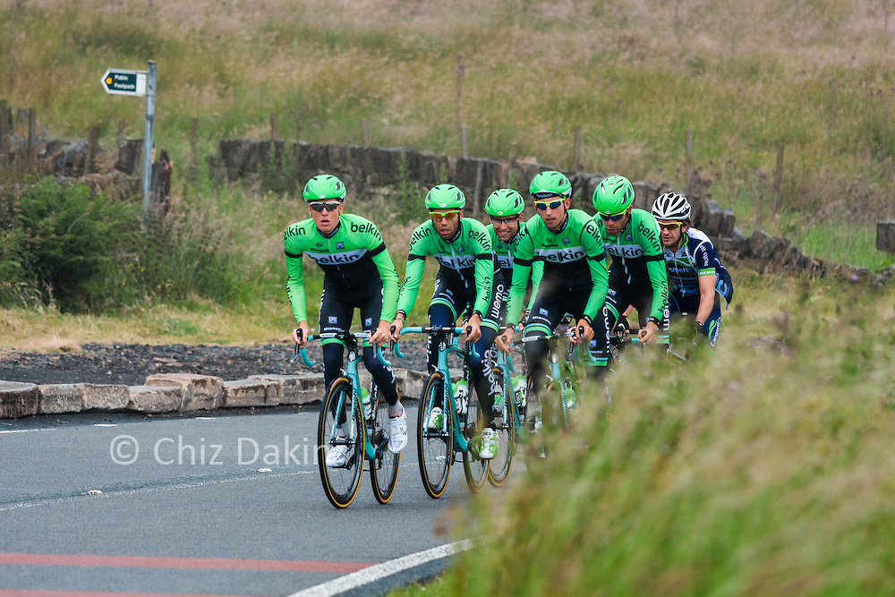 Team Belkin (+1?) cycling on a practice run up Holme Moss a couple of days before start of the 2014 Tour de France.