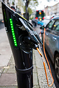 Electric car charging point, outside the Department for Transport, Horseferry rd.  London. UK.