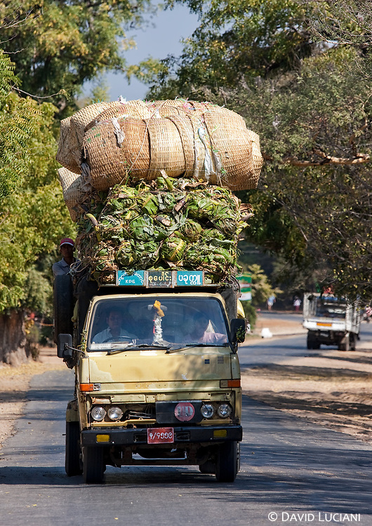 """It's not surprising to see overloaded vehicles on the streets of Bagan. Effective space management """"made in Burma""""."""