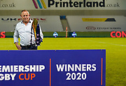 Sale Sharks Director of Rugby Steve Diamond poses with the trophy after winning 27-19 in The Premiership Rugby Cup Final at The AJ Bell Stadium, Eccles, Greater Manchester, United Kingdom, Monday, September 21, 2020. (Steve Flynn/Image of Sport)