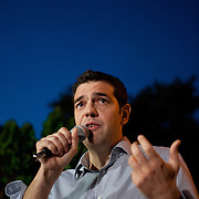 Alexis Tsipras answering questions of the public during  the open Assembly of SYRIZA in Aghia Ekaterini Square, in the Kato Petralona neighbourhood  of Athens.