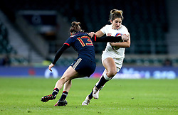 Amy Wilson Hardy of England takes on Caroline Ladagnous of France Women - Mandatory by-line: Robbie Stephenson/JMP - 04/02/2017 - RUGBY - Twickenham - London, England - England v France - Women's Six Nations