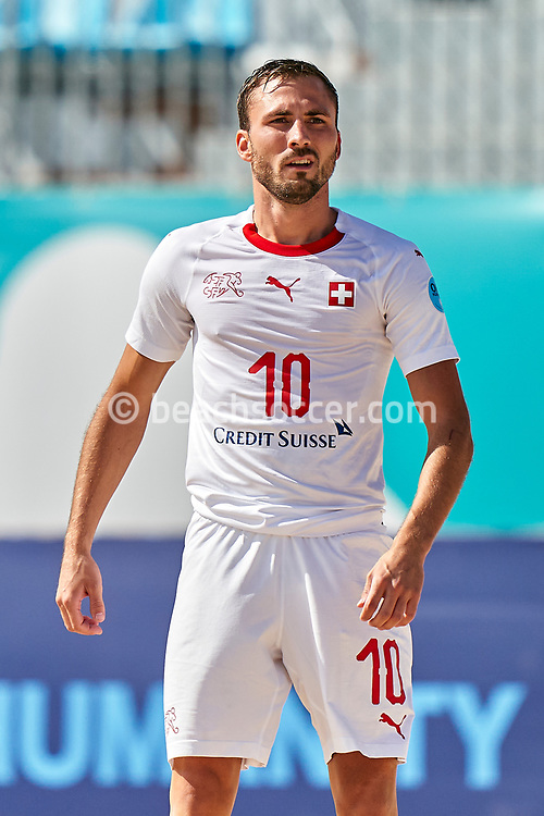 NAZARE, PORTUGAL - SEPTEMBER 4: Noel Ott of Switzerland during day 3 of the Euro Beach Soccer League Superfinal at Estadio do Viveiro on September 4, 2020 in Nazare, Portugal. (Photo by Jose Manuel Alvarez/BSWW)