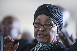 JOHANNESBURG, SOUTH AFRICA - MARCH 29: Winnie Madikizela-Mandela, ex-wife of Former South African President Nelson Mandela's friend Ahmed Kathrada, attends the funeral ceremony of Ahmed Kathrada at Westpark Cemetery in Johannesburg, South Africa on March 29, 2017. Ihsaan Haffejee / Anadolu Agency  | BRAA20170329_435 Johannesburg Afrique du Sud South Africa