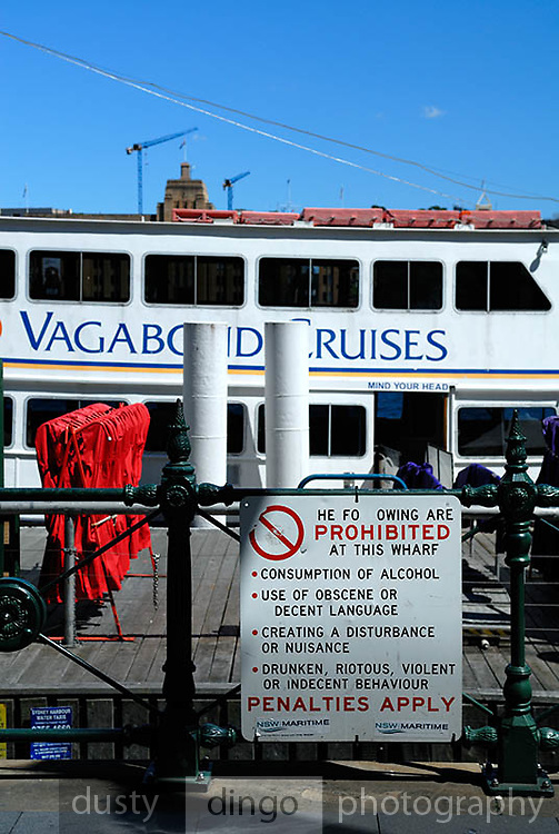 Sign on wharf, Circular Quay, Sydney, Australia