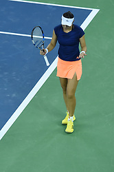 WUHAN, Sept. 24, 2017 Duan Yingying of China reacts during the singles' first round match against Elena Vesnina of Russia  at 2017 WTA Wuhan Open in Wuhan, capital of central China's Hubei Province, on Sept. 24, 2017. Duan lost 0-2.  wll) (Credit Image: © Ou Dongqu/Xinhua via ZUMA Wire)