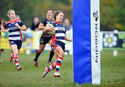 Jasmine Joyce of Bristol Ladies heads towards the whitewash to score a try against Saracens Women - Mandatory by-line: Paul Knight/JMP - 30/10/2016 - RUGBY - Cleve RFC - Bristol, England - Bristol Ladies v Saracens Women - RFU Women's Premiership