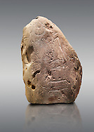 """Prehistoric  petroglyphs, rock carvings, carved by the the prehistoric Camuni people in the Copper Age around the 3rd milleneum BC, Stele """"Bagnolo 2"""" found in 1972 from Malegno near Bangnolo Ceresolo. Museo Nazionale della Preistoria della Valle Camonica ( National Museum of Prehistory in Valle Cominca ), Lombardy, Italy. Grey Background .<br /> <br /> If you prefer you can also buy from our ALAMY PHOTO LIBRARY  Collection visit : https://www.alamy.com/portfolio/paul-williams-funkystock/valcamonica-rock-art.html<br /> Visit our PREHISTORIC PLACES PHOTO COLLECTIONS for more  photos to download or buy as prints https://funkystock.photoshelter.com/gallery-collection/Prehistoric-Neolithic-Sites-Art-Artefacts-Pictures-Photos/C0000tfxw63zrUT4"""