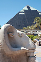 The Luxor hotel and casino on Las Vegas Boulevard, Las Vegas, Nevada. Also known as The Las Vegas Strip where many of the famous themed casinos and hotels are located.