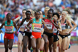 London, August 10 2017 . Almaz Ayana, Ethiopia, leads the pack in the women's 5,000m heats on day seven of the IAAF London 2017 world Championships at the London Stadium. © Paul Davey.
