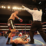 Daniel Rosario of Puerto Rico (R) knocks out Aaron Garcia for the WBO Latin Superwelterweight title belt  during a Telemundo boxing match at the Kissimmee Civic Center on Friday, July 17, 2014 in Kissimmee, Florida. Rosario won the bout by TKO. (AP Photo/Alex Menendez)