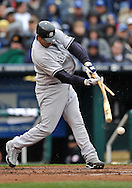 April 12, 2009:  Catcher Jose Molina #26 of the New York Yankees brakes his bat after hitting the ball against the Kansas City Royals at Kauffman Stadium in Kansas City, Missouri.  The Royals defeated the Yankees 6-4.