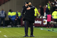 Slaven Bilic, the West Ham United manager gets a hug from Pep Guardiola, the Manchester City manager after full time. Premier league match, West Ham Utd v Manchester city at the London Stadium, Queen Elizabeth Olympic Park in London on Wednesday 1st February 2017.<br /> pic by John Patrick Fletcher, Andrew Orchard sports photography.