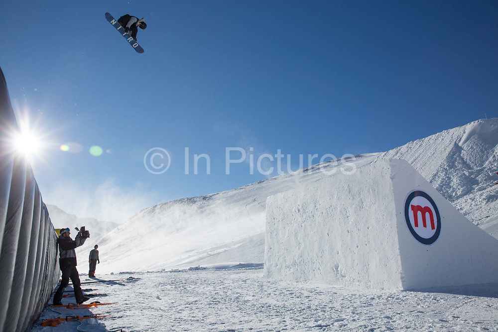 Great British freestyle Snowboarder Jamie Nicholls from GB Park & Pipe, the freestyle Ski and Snowboard Olympic development team, at their brand new winter training facility in Mottolino Snow Park on 7th December 2017 in Livingo, Italy. The Big Air Bag is the first of its kind and has been developed by the GB Park & Pipe's Hamish McKnight and Lesley McKenna. The air bag was built by BigAirBag company from Holland.
