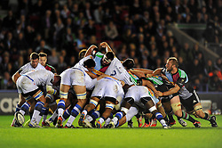 The Castres and Harlequins packs engage at a scrum - Photo mandatory by-line: Patrick Khachfe/JMP - Mobile: 07966 386802 17/10/2014 - SPORT - RUGBY UNION - London - Twickenham Stoop - Harlequins v Castres Olympique - European Rugby Champions Cup