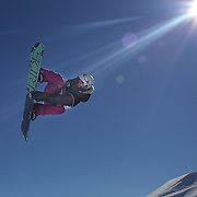 Silvia Mittermueller, Germany, in action during the Snowboard Slopestyle Ladies competition at Snow Park, New Zealand during the Winter Games. Wanaka, New Zealand, 21st August 2011. Photo Tim Clayton