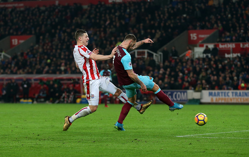 West Ham United's Marko Arnautovic scores his side's second goal <br /> <br /> Photographer Rob Newell/CameraSport<br /> <br /> The Premier League - Stoke City v West Ham United - Saturday 16th December 2017 - Britannia Stadium - Stoke-on-Trent <br /> <br /> World Copyright © 2017 CameraSport. All rights reserved. 43 Linden Ave. Countesthorpe. Leicester. England. LE8 5PG - Tel: +44 (0) 116 277 4147 - admin@camerasport.com - www.camerasport.com