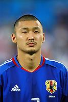 "12/08/04 - THESSALONIKI - GREECE -  - JAPAN OLYMPIC MENS FOOTBALL TEAM -  <br />First match Group B - JAPAN () Vs. PARAGUAY -<br />At the THESSALONIKI ""KAFTATZOGLIO STADIUM"".<br />Min.= '   Japan player N*3 MONIWA Teruyuki<br />© Gabriel Piko / Piko-Press"