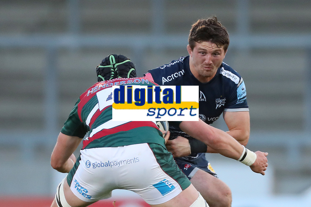 Rugby Union - 2020 / 2021 Gallagher Premiership - Round 18 - Sale Sharks vs Leicester Tigers - A J Bell Stadium<br /> <br /> Tom Curry of Sale Sharks and Cameron Henderson of Leicester Tigers