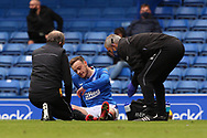 INJURY. Rangers suffer their second of three injuries on 19 minutes as Brandon Barker (Rangers) has to go off during the Scottish Premiership match between Rangers and Dundee United at Ibrox, Glasgow, Scotland on 12 September 2020.