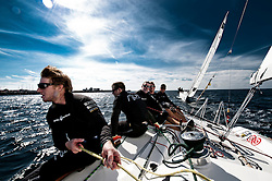 Torvar Mirsky and his team during the practice. Danish Open 2010, Bornholm, Denmark. World Match Racing Tour. photo: Loris von Siebenthal - myimage