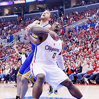 21 April 2014: Los Angeles Clippers forward Glen Davis (0) vies for the rebound with Golden State Warriors forward David Lee (10) during the Los Angeles Clippers 138-98 victory over the Golden State Warriors, during Game Two of the Western Conference Quarterfinals of the NBA Playoffs, at the Staples Center, Los Angeles, California, USA.