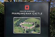 English Heritage sign for Framlingham castle, Suffolk, England, UK