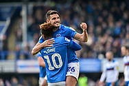 Portsmouth Midfielder, Gareth Evans (26) celebrates with Portsmouth Midfielder, Jamal Lowe (10) after scoring a goal to make it 3-1 during the EFL Sky Bet League 1 match between Portsmouth and Rochdale at Fratton Park, Portsmouth, England on 13 April 2019.