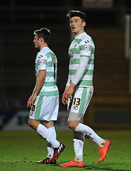 Dejection for Yeovil Town's Kieffer Moore and Yeovil Town's James Berrett  - Photo mandatory by-line: Harry Trump/JMP - Mobile: 07966 386802 - 03/03/15 - SPORT - Football - Sky Bet League One - Yeovil v Walsall - Huish Park, Yeovil, England.