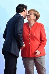 July 7, 2017 - Hamburg, Deutschland - Justin Trudeau Prime Minister Canada, Angela Merkel Federal Chancellor Germany.Offizielle Begruessung der G20-Staats- und Regierungschefs, Hamburg, Germany - 07 Jul 2017.Credit:.Credit: Timm/face to face (Credit Image: © face to face via ZUMA Press)