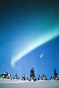Alaska. Northern Lights with Hale-Bopp Comet.