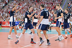 13.09.2014, Luczniczka Hall, Bydgoszcz, POL, FIVB WM, Polen vs Iran, 2. Runde, Gruppe E, im Bild Mateusz Mika, Mariusz Wlazly, Dawid Konarski, Piotr Nowakowski, Michal Kubiak // during the FIVB Volleyball Men's World Championships 2nd Round Pool E Match beween Poland and Iran at the Luczniczka Hall in Bydgoszcz, Poland on 2014/09/13. EXPA Pictures © 2014, PhotoCredit: EXPA/ Newspix/ Mariusz Palczynski<br /> <br /> *****ATTENTION - for AUT, SLO, CRO, SRB, BIH, MAZ, TUR, SUI, SWE only*****