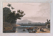 WATERING PLACE AT ANJERE POINT colour print from the book ' A Picturesque Voyage to India by Way of China  ' by Thomas Daniell, R.A. and William Daniell, A.R.A. London : Printed for Longman, Hurst, Rees, and Orme, and William Daniell by Thomas Davison, 1810. The Daniells' original watercolors for the scenes depicted herein are now at the Yale Center for British Art, Department of Rare Books and Manuscripts,