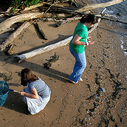 Marie Ammar, 9, and Jasmine Ammar, 11, collect shells on the beach in front of their home....Photo by Susana Raab..