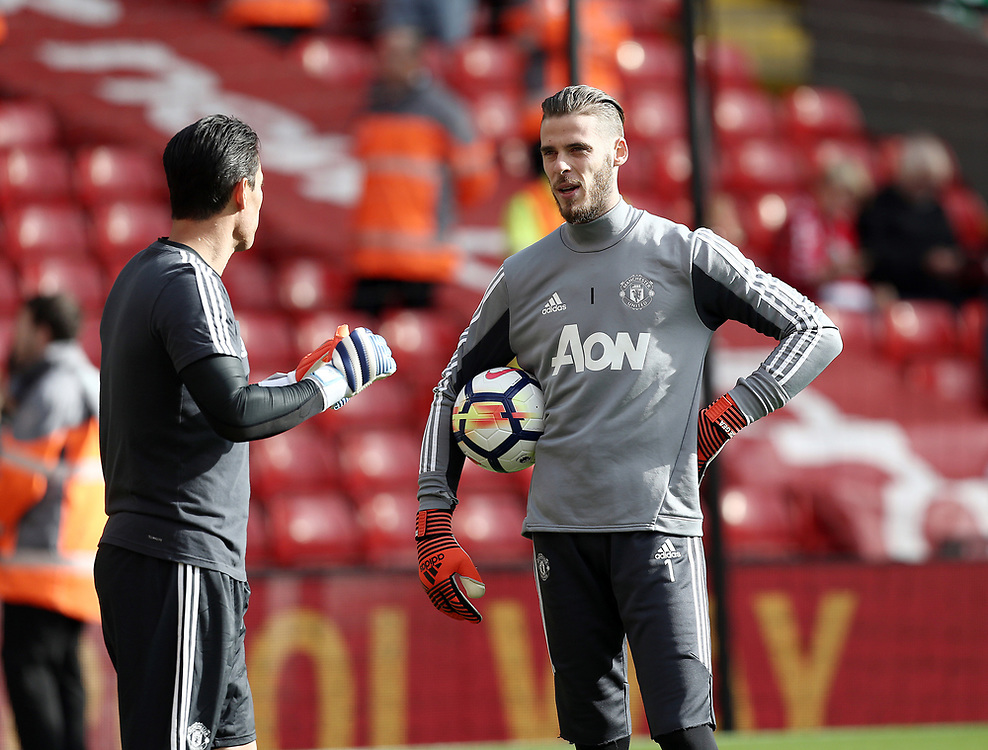 Manchester United's David De Gea during the pre-match warm-up <br /> <br /> Photographer Rich Linley/CameraSport<br /> <br /> The Premier League - Liverpool v Manchester United - Saturday 14th October 2017 - Anfield - Liverpool<br /> <br /> World Copyright © 2017 CameraSport. All rights reserved. 43 Linden Ave. Countesthorpe. Leicester. England. LE8 5PG - Tel: +44 (0) 116 277 4147 - admin@camerasport.com - www.camerasport.com