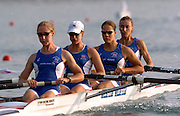 2004_Junior_Non_Olympics_Worlds_Lake Banyoles_Spain.29.07.2004 Thursday - Photo  Peter Spurrier .email images@intersport-images.com.Tel +44 7973 819 551 .GBR  W4-  Training Thursday morning.Bow Ros Carslake, 2. Jessica Eddie,  3. Lizzie Crichton and  Bev Gough, Rowing Course: Lake Banyoles, SPAIN . [Mandatory Credit: Peter Spurrier: Intersport Images].