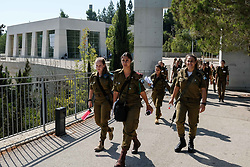 August 8, 2017 - Jerusalem, Israel - A group of female IDF soldiers leaves the Yad Vashem Holocaust Museum. (Credit Image: © Nir Alon via ZUMA Wire)