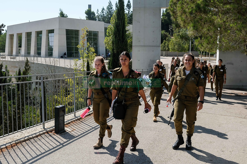 August 8, 2017 - Jerusalem, Israel - A group of female IDF soldiers leaves the Yad Vashem Holocaust Museum. (Credit Image: © Nir Alon via ZUMA Wire)