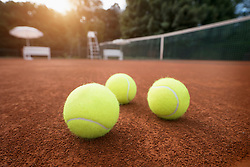 Close-up of tennis balls on playing field, Bavaria, Germany