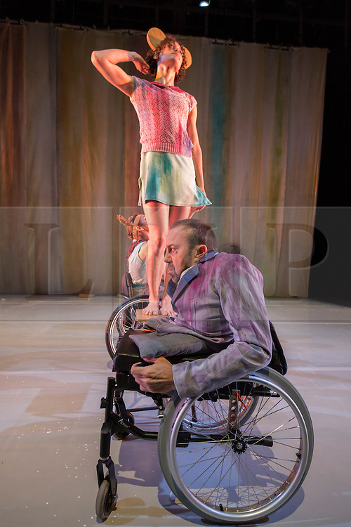 """© Licensed to London News Pictures. 13/05/2014. London, UK. Pictured: Amy Butler and David Toole at the front. Sadler's Wells present the series """"=dance"""", dance productions by disabled and non-disabled performers. Stopgap Dance Company perform """"Artificial Things"""". Artificial Things is the debut production by Stopgap's Artistic Director Lucy Bennett, who is one of UK's leading experts in integrated choreography. Performers: David Toole, Chris Pavia, Laura Jones, Amy  Butler and David Willdridge. Photo credit: Bettina Strenske/LNP"""