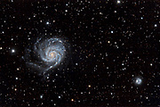The Pinwheel Galaxy Messier 101 (NGC 5457) in the constellation Ursa Major (Big Dipper).  At lower right are the galaxies NGC5174 and PGC4545422.
