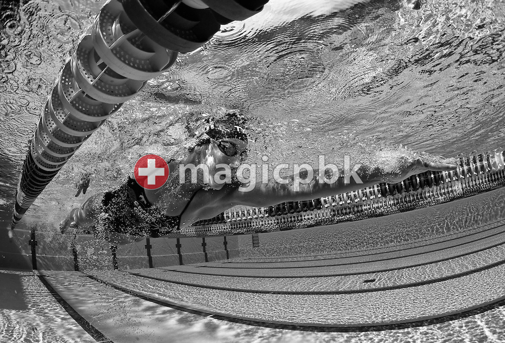 (EDITORS NOTE: Image has been converted to black and white.) Swimmer Swann OBERSON of Switzerland is pictured during a training session at the outdoor swimming pool (Piscina Comunale) in Bellinzona, Switzerland, Monday, Aug. 8, 2011. (Photo by Patrick B. Kraemer / MAGICPBK)