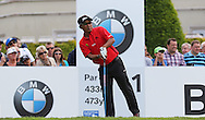 Thongchai JAIDEE after his 1st shot on the 1st hole during the 4th day of the BMW PGA Championship at Wentworth, Virginia Water, United Kingdom on 24 May 2015. Photo by Ellie  Hoad.
