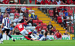 Bristol City's Nicky Maynard goes close for, but sees his shot saved by West Bromwich Albion's latest signing Ben Foster  - Photo mandatory by-line: Joseph Meredith / JMPUK - 30/07/2011 - SPORT - FOOTBALL - Championship - Bristol City v West Bromwich Albion - Ashton Gate Stadium, Bristol, England