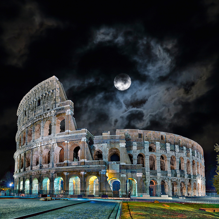 Colosseum against cloudy sky, Rome, Italy