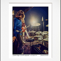 """Graeme Edge and Justin Hayward - An affordable archival quality matted print ready for framing at home.<br />  Ideal as a gift or for collectors to cherish, printed on Fuji Crystal Archive photographic paper set in a neutral mat (all mounting materials are acid free conservation grade). <br />  The image (approx 6""""x8"""") sits within a titled border. The outer dimensions of the mat are approx 10""""x12"""""""