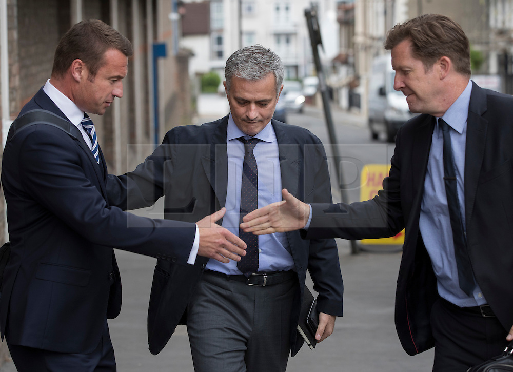 © Licensed to London News Pictures. 07/06/2016. Croydon, UK. Former  Chelsea FC manager Jose Mourinho (C) arrives at the employment tribunal of former team doctor EVA CARNEIRO. A  hearing claiming constructive dismissal against Chelsea football club and Jose Mourinho is in it's second day. Photo credit: Peter Macdiarmid/LNP